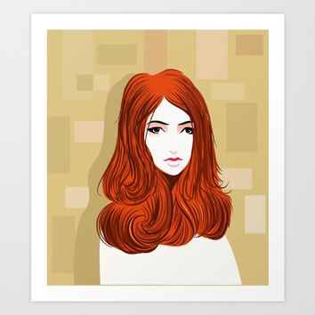 Orange Girls Art Print by dhiazkaosy