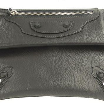 ONETOW balenciaga arena classic envelope black leather clutch 2
