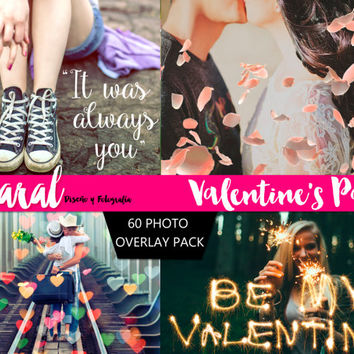 VALENTINE'S DAY Photoshop OVERLAYS, Valentine's Overlays, Photoshop Overlay, Overlay Bundle, Hearts bokeh overlays, Sparklers overlays