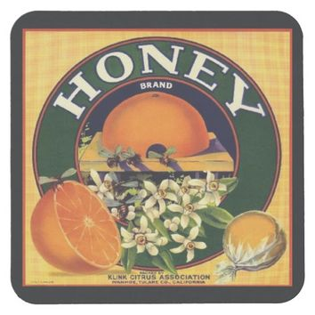 Vintage honey company advertisement coaster