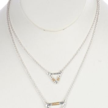 Gold Hammered Metal Triangle Double Layer Necklace