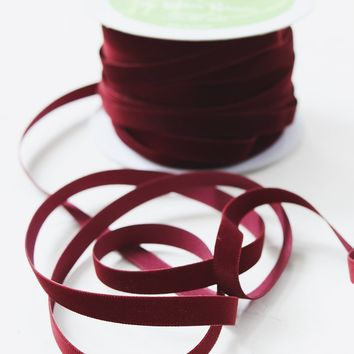 "Premium Woven Velvet Ribbon in Burgundy - 3/8"" Wide x 33 yd"