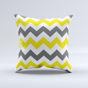 Gray & Yellow Chevron Pattern Ink-Fuzed Decorative Throw Pillow