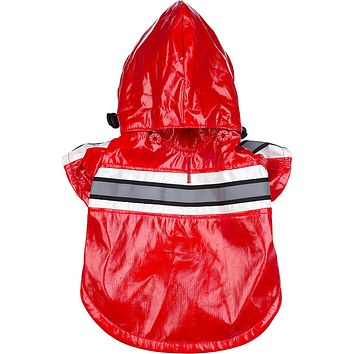 Reflecta-Glow Reflective Waterproof Adjustable Pvc Pet Raincoat - Red: X-Small