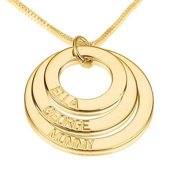 Personalized Jewelry Mothers Necklace Gold Hand Stamped Family Necklace Mom Necklace Grandma Necklace Mothers Jewelry Mommy