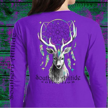 Southern Attitude Preppy Feather Deer Dream Long Sleeve T-Shirt
