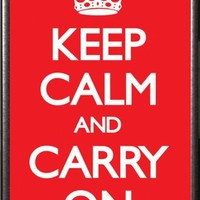 Keep Calm and Carry On 36x24 Dry Mount Poster Silver Wood Framed