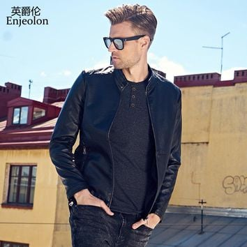 Leather PU Jackets stand collar Men cool quality coat fashion winter clothes