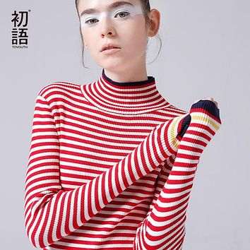 Toyouth Turtleneck Sweaters Women Slim Striped Pullover Hit Color Long Sleeve Sweater Casual Long Sleeve Pull Femme 2018 Spring