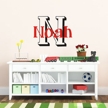 Children Baby Nursery Decals - Name Wall Decal - Boys Vinyl Custom Monogram Wall Decal Baby and Kids with Initial - Vinyl Decal wall Art -