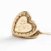 Antique Heart Locket - Vintage Rosy Yellow Gold Filled Letter E Pendant - Edwardian Era 1910s Romantic Initial Charm 14k GF Chain Jewelry