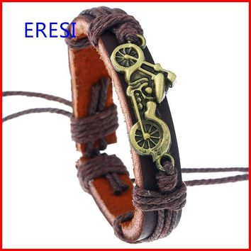 Fashionable Motorcycle Charm Leather Cuff Hip Hop Jewelry Cheap Price Promotion Gifts Mens