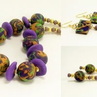 Handmade Necklace, Polymer Clay Jewelry, Purple, Bright Green and Gold