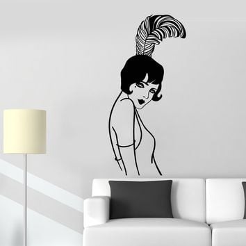 Vinyl Wall Decal Retro Lady Beautiful Girl Style Hairstyle With Feather Stickers (2403ig)