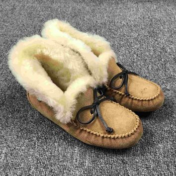 LFMON UGG 4806 Tall TODS Hogskin Sheepskin Women Men Fashion Casual Wool Winter Snow Boots Chestnut