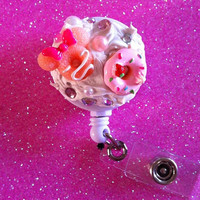 Peach Minnie Mouse Donut x Pink Donut ID Badge Clip by JMxSweets