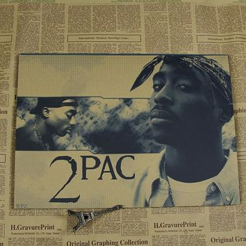 2 pac/drake/Wiz Khalifa/snoop dogg, Kanye West  Wall Sticker hip hop music poster retro paper rock vintage poster wall sticker
