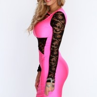 Neon Pink Floral Lace Mesh Sexy Bodycon Dress