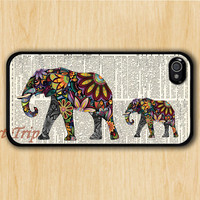 iPhone 4 Case, iphone 4s case --Mama Elephant and Baby Elephant iphone case,colorful elephant on Dictionary iphone 4 case, iphone case