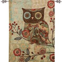Milo the Owl Tapestry Wall Hanging With Tapestry Hanging Rod