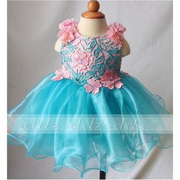diamond crystal spaghetti corset organza toddler infant short flower girls pageant party dresses girl's ball gown cupcake