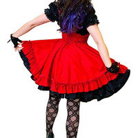 Plus Size Gothic Lolita Jumper Red Cotton Dress-custom to size 3X-5X
