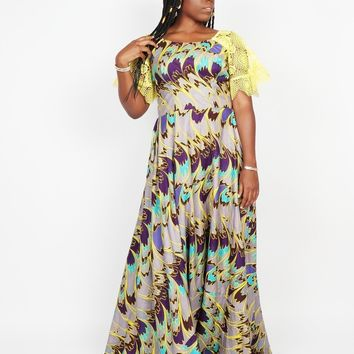 African Maxi Dress with Lace