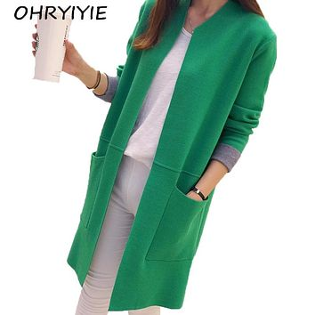 OHRYIYIE Women Sweater Long Cardigan 2018 New Fashion Autumn Winter Long Sleeve Loose Knitted Cardigan female Sweaters Long Coat