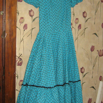 1950s turquoise blue and black square dance dress  small