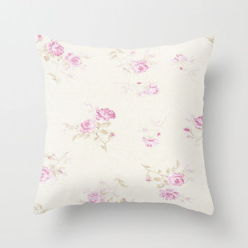 Faded Chic Shabby Roses Throw Pillow Pink 16x16 Case Beach Cottage 16x16