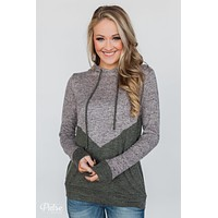 Rely on You Color Block Hoodie - Heather Grey & Olive