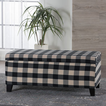 Brianna Black & White Checker Fabric Storage Ottoman