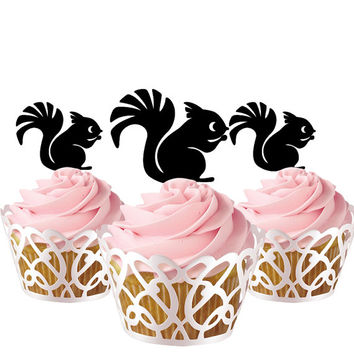 6 pcs in one set Squirrel CupCake toppers for party decor, cupcake toppers acrylic, topper for birthday, kids birthday cake decor