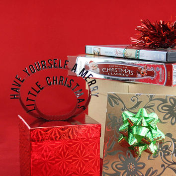 Have Yourself A Merry Little Christmas - Film Reel Gift Packaging Bow - Pop Up Letters Word Loop - Repurposed Movie Film Strip - Gift Topper