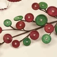 Wooden Button Pick - Festive Red And Green Buttons Are Fastened To This Holiday Pick