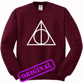 Deathly Hallows for Sweater maroon, Sweatshirt maroon unisex adult