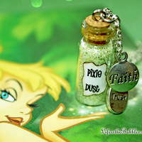 Faith Trust and Magical Pixie Dust Necklace, Tinkerbell Inspired