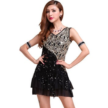 Elegant Women Night Club Party Latin Dance Dress Ballroom Salsa Sequins Fringe Skirts6 SM6