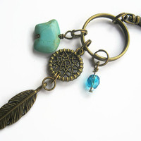 Dreamcatcher Keychain, BRONZE Zuni Bear Zipper Pull, Feather Keychain, Boho Personalized Accessory, Southwestern, Turquoise, Birthstone