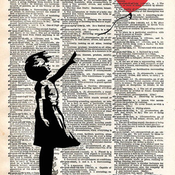 Banksy a girl with a Balloon street art, vintage dictionary page book art print