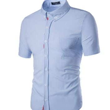Mens Slim Dress Shirt Tee