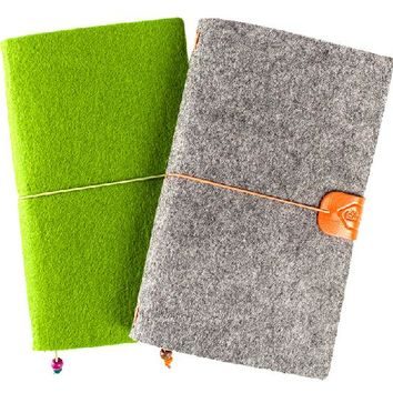 Wool Felt Cover Journal / Travel Diary / Trip Planner / Notebook, Refillable A6 Traveler's Notebook Notepad, Bo