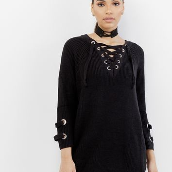 EMBLER OVERSIZED LACE UP SWEATER - BLACK