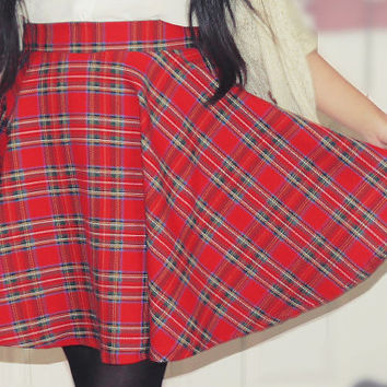 Tartan Red Plaid Skater Circle Skirt