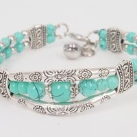 Handmade Ethnic Style Turquoise Color Beaded Bangle with Bell Pendant Joint- 3 Rows H0527
