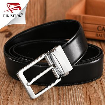 High Quality Split Genuine Leather Belt for Male Fashionable Men's Military Belt luxury Brand Pin Buckle