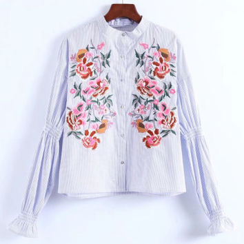 Embroidered Flower Striped Blouse -SheIn(Sheinside)