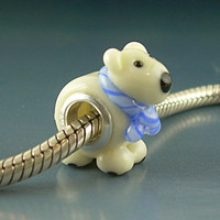 Polar Bear with Scarf Handmade Lampwork Glass BHB by Gelly on Etsy