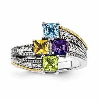 Mother's Custom Sterling Silver Personalized Ring W/ 14k Four Birthstones & Diamond Antique Finish