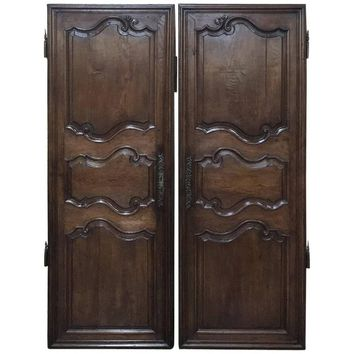 Pair of 18th Century Country French Oak Armoire Doors, Plaquards